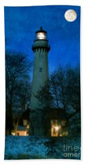 Grosse Point Lighthouse Before Dawn Beach Towel by Jill Battaglia