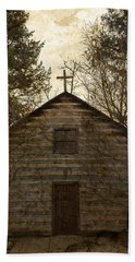 Grungy Hand Hewn Log Chapel Beach Sheet by John Stephens