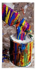 Hand Coming Out Of Paint Bucket Beach Towel