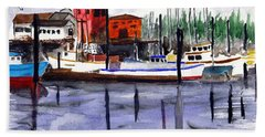 Beach Towel featuring the painting Harbor Fishing Boats by Chriss Pagani