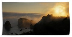 Harris Beach Sunset Panorama Beach Towel by Mick Anderson