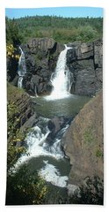Beach Sheet featuring the photograph High Falls Grand Portage by Bonfire Photography