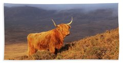 Highland Cattle Landscape Beach Towel