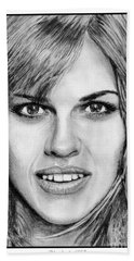 Beach Towel featuring the drawing Hilary Swank In 2007 by J McCombie