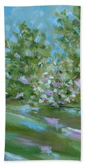 Beach Towel featuring the painting Hilltop by Judith Rhue