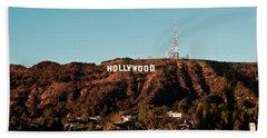 Hollywood Sign At Sunset Beach Towel