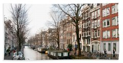 Homes Along The Canal In Amsterdam Beach Towel by Carol Ailles