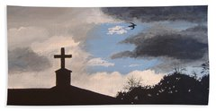 Beach Towel featuring the painting Hope In The Storm by Norm Starks
