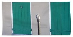 Beach Sheet featuring the photograph Horse Head Post With Green Doors by Alys Caviness-Gober