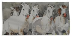 Horses Thru Water Beach Towel