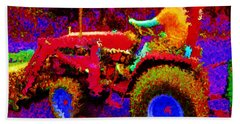 Beach Towel featuring the photograph Hot Afternoon On A John Deere Tractor by George Pedro
