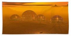 Human Settlement On Alien Planet Beach Towel