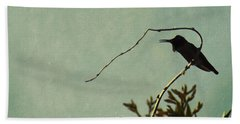Hummingbird On Winter Wisteria Beach Sheet
