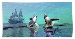 Humpback Whales Breach The Ocean Beach Towel
