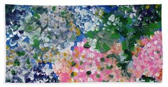 Beach Towel featuring the painting Hydrangeas I by Alys Caviness-Gober