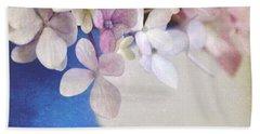 Hydrangeas In Deep Blue Vase Beach Towel by Lyn Randle