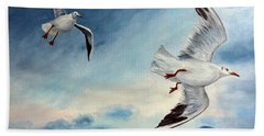 Beach Towel featuring the painting In Flight by Julie Brugh Riffey