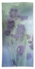 Iris In The Spring Rain Beach Towel