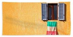Italian Flag Window And Yellow Wall Beach Towel by Silvia Ganora