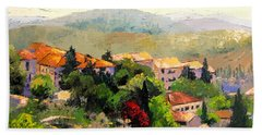Italian Hillside Village Oil Painting Beach Sheet