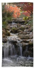Waterfall In The Japanese Gardens, Ft. Worth, Texas Beach Towel