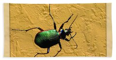 Beach Towel featuring the photograph Jeweltone Beetle by Debbie Portwood
