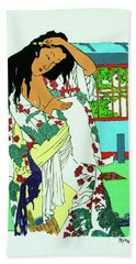 Beach Towel featuring the painting Kanojo No Nyuyoku-go by Roberto Prusso