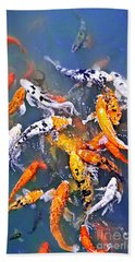Koi Fish In Pond Beach Towel by Elena Elisseeva