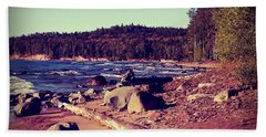 Beach Towel featuring the photograph Lake Superior Shoreline by Phil Perkins