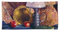 Lamp With Apples Beach Towel by Nancy Griswold