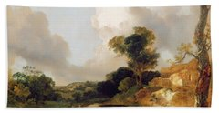 Landscape With Stream And Weir Beach Towel
