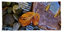 Leaves Rocks Shadows Beach Sheet by Bill Owen