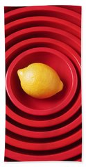 Lemon In Red Bowls Beach Towel