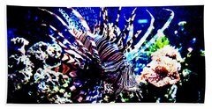 Beach Towel featuring the photograph Lion Fish At Oklahoma Aquarium 2005 by Toni Hopper