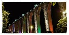Lisbon Historic Aqueduct By Night Beach Sheet