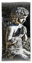 Little Angel Statue Beach Towel by Danuta Bennett