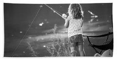 Little Fishing Girl Beach Towel