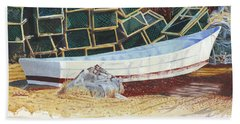 Beach Towel featuring the painting Lobster Traps And Dory by Dominic White
