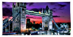 London Evening At Tower Bridge Beach Towel