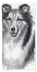 Beach Towel featuring the drawing Looks Like Lassie by Julie Brugh Riffey