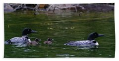 Loons With Twins Beach Sheet by Steven Clipperton