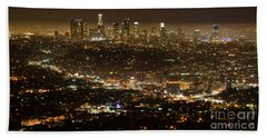 Los Angeles  City View At Night  Beach Sheet by Bob Christopher