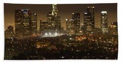 Los Angeles Skyline At Night Beach Towel