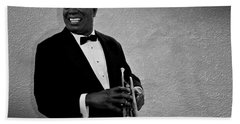 Louis Armstrong Bw Beach Sheet by David Dehner