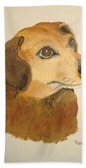 Beach Towel featuring the painting Lovable Dachshund by Norm Starks