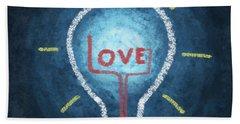 Love Word In Light Bulb Beach Towel