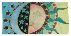 Beach Towel featuring the painting Love You Day And Night by Anna Ruzsan