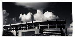 Lsu Tiger Stadium Black And White Beach Towel