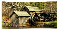 Mabry Mill In Winter Beach Towel by Myrna Bradshaw