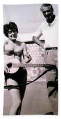 Mama Chris And Gary Cooper In Monte Carlo 1958 Beach Towel
